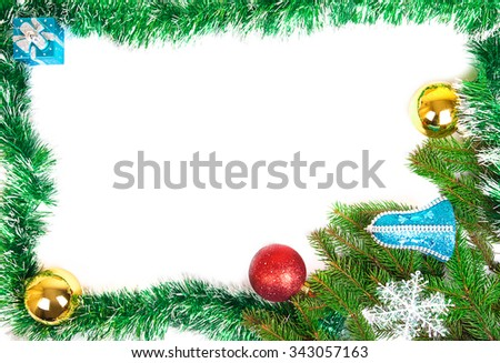 Spruce tree, snowflakes and christmas balls isolated on white background with copy space - stock photo