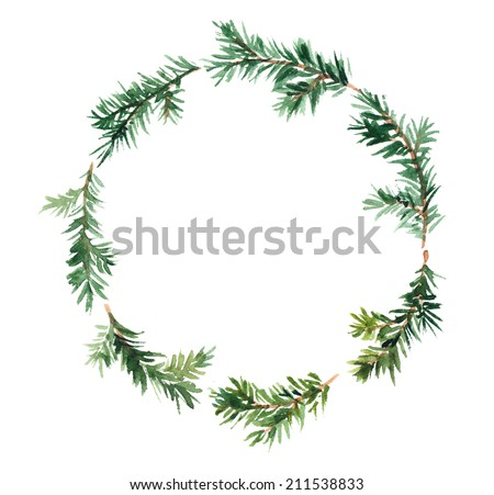 Spruce wreath. Watercolor - stock photo
