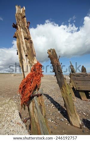 spun point, spurn head.east riding, yorkshire, yorkshire coast, landscape, seascape, scenic, mono, wide angle, easington, kilnsea, shore, shoreline, coast, coastline, sand, beach, space, tide, tidal - stock photo