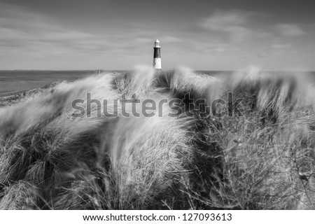 Spurn Point disused lighthouse, East Yorkshire - stock photo