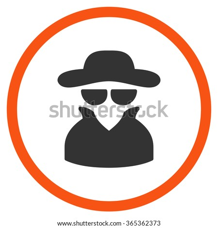 Spy glyph icon. Style is bicolor flat circled symbol, orange and gray colors, rounded angles, white background. - stock photo