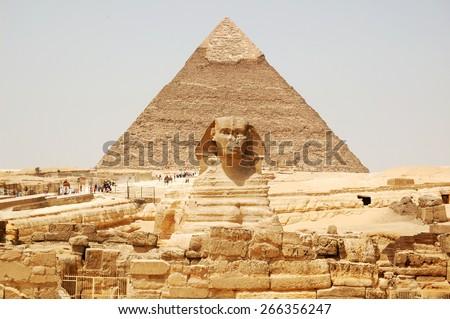 Spynx face on the Giza pyramid background, Cairo, Egypt - stock photo