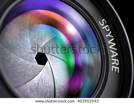 Spyware - Concept on Lens of Camera with Colored Lens Reflection, Closeup. Closeup Photo Lens with Pink and Green Reflection and Inscription Spyware. Front of Lens with Spyware Concept. 3D. - stock photo