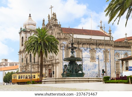 sqare with 17th century Carmelitas Church and  Carmo Church, Porto, Portugal - stock photo