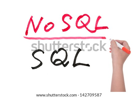 SQL or NoSQL words written on white board, Big data concept - stock photo
