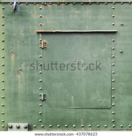 Square abstract green industrial metal background texture with bolts and rivets - stock photo