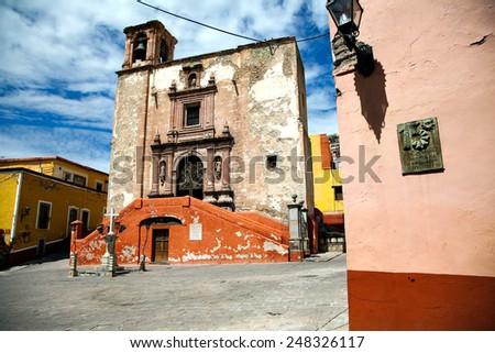 Square and Church of San Roque Guanajuato Mexico - stock photo