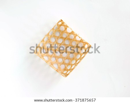 square bamboo wicker isolated - stock photo