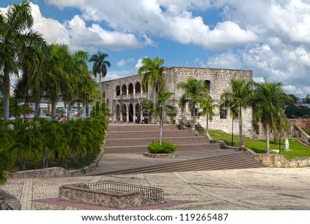 Square before House of Christopher Columb Santo Domingo. Dominican Republic - stock photo