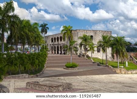Square before House of Christopher Columb Santo Domingo. Dominican Republic - stock photo