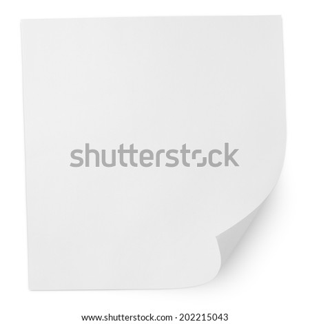 Square blank sheet of paper isolated on white with clipping path - stock photo