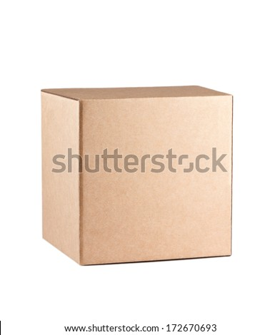 Square box isolated on white background - stock photo