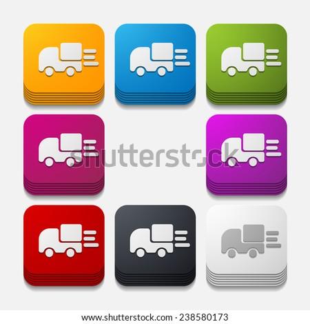 square button: car - stock photo