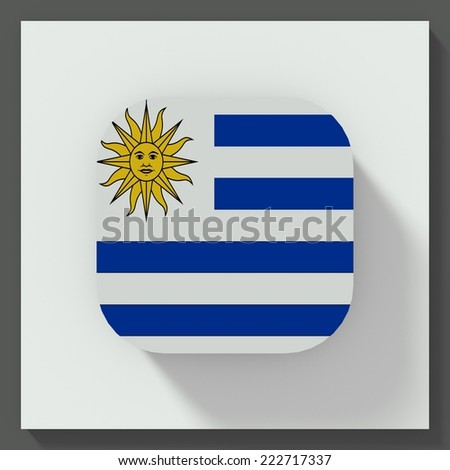 square button flat design with flag of Uruguay - stock photo