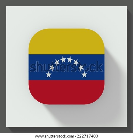 square button flat design with flag of Venezuela - stock photo