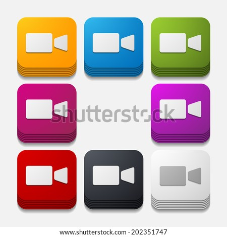 square button: video - stock photo