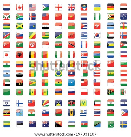 Square Buttons World Flag Set - stock photo