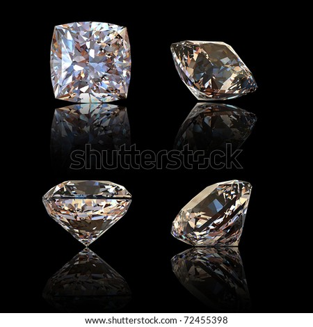 Square cognac diamond isolated on black background. Gemstone - stock photo