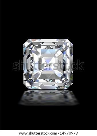 Square cut diamond on black - stock photo