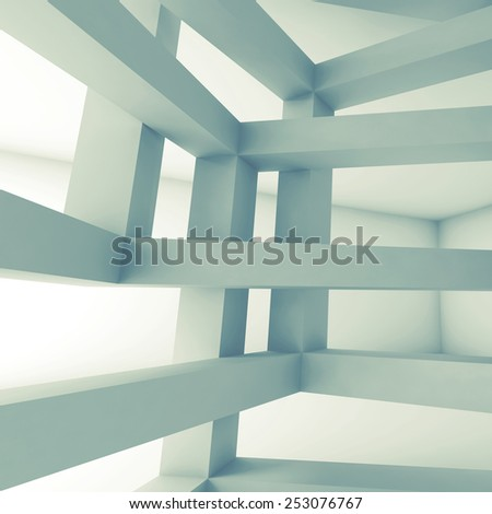 Square 3d abstract architecture background. Internal space of chaotic braced construction - stock photo