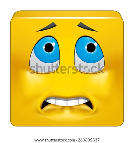 Square emoticon afraid - stock photo