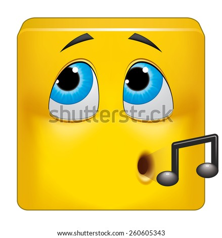 Square emoticon hiding his guilt - stock photo