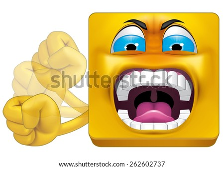 Square emoticon huff - stock photo