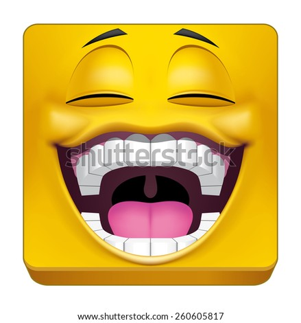 Square emoticon laughing - stock photo