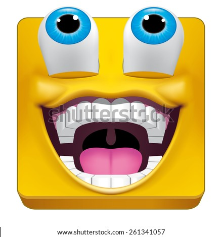 Square emoticon likes what is seeing - stock photo
