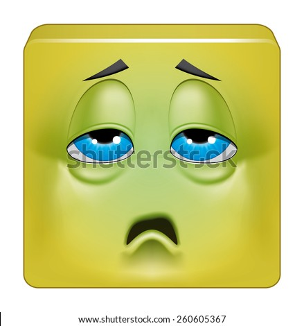 Square emoticon sick  - stock photo