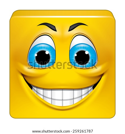 Square emoticon smiling - stock photo