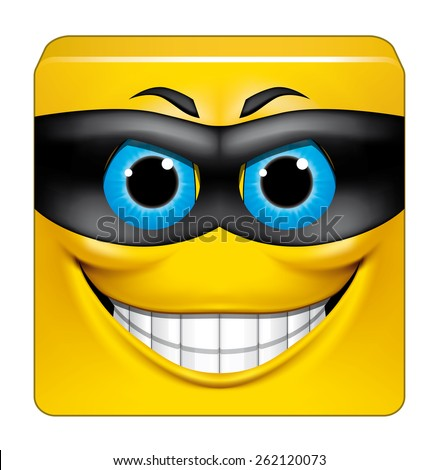 Square emoticon thief - stock photo