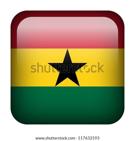 Square flag button series - Ghana - stock photo