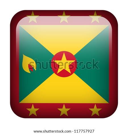 Square flag button series - Grenada - stock photo