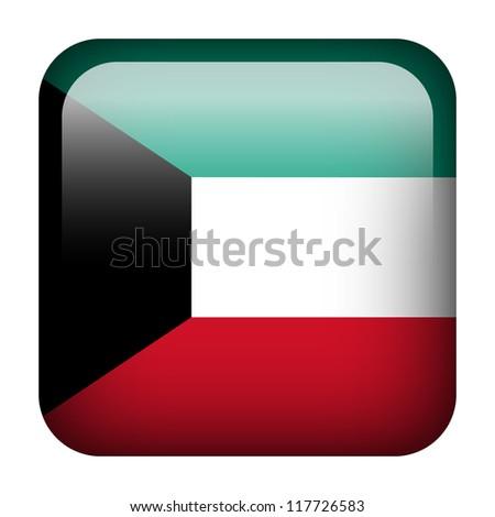 Square flag button series - Kuwait - stock photo