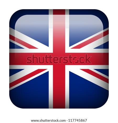 Square flag button series - United Kingdom - stock photo