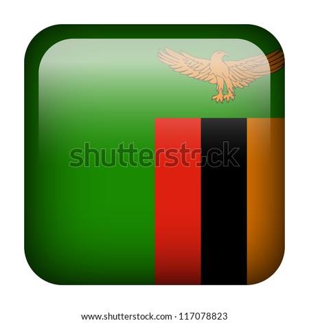 Square flag button series - Zambia - stock photo
