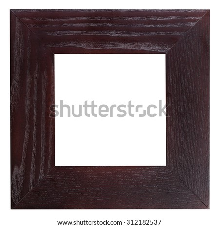 square flat dark brown wooden picture frame with cut out blank space isolated on white background - stock photo