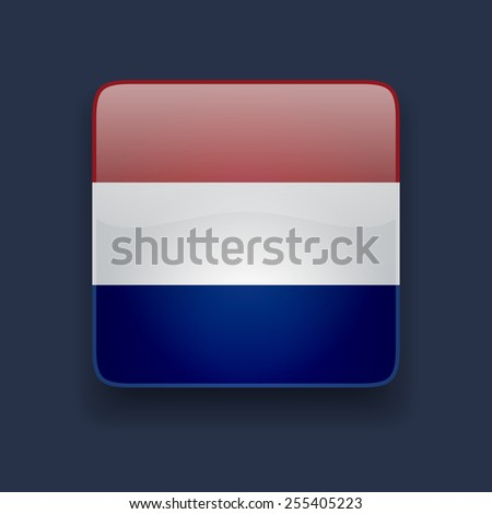 Square glossy high quality icon with national flag of Netherlands on dark blue background - stock photo