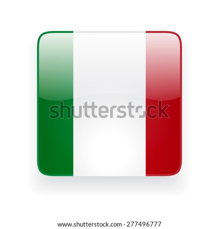 Square glossy icon with national flag of Italy on white background - stock photo
