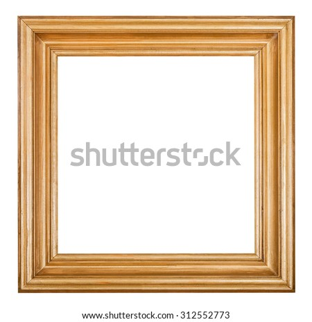 square golden lacquered wooden picture frame with cut out blank space isolated on white background - stock photo
