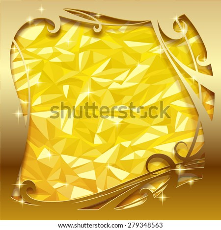 Square greeting card and poster with gold foil texture and sparks. Christmas and New-Year's background with frame - stock photo