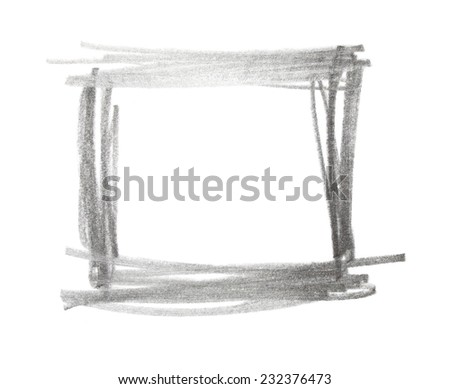 square grunge graphite pencil texture isolated on white background, photo - stock photo