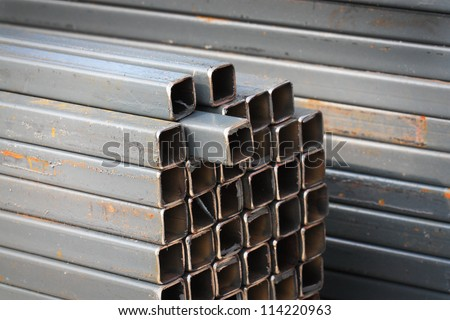 square high carbon metal tube background for heavy industry - stock photo