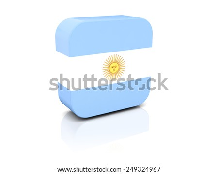 Square icon with flag of argentina with reflection - stock photo