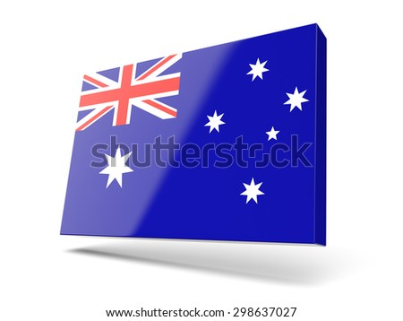 Square icon with flag of australia isolated on white - stock photo