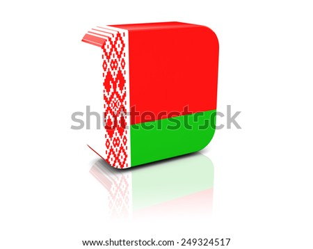 Square icon with flag of belarus with reflection - stock photo