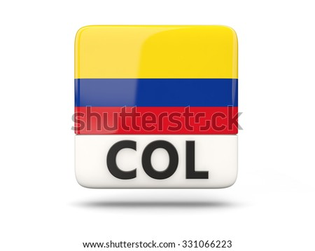 Square icon with flag of colombia and ISO code - stock photo