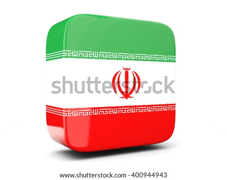 Square icon with flag of iran square isolated on white. 3D illustration - stock photo