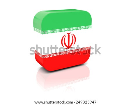 Square icon with flag of iran with reflection - stock photo